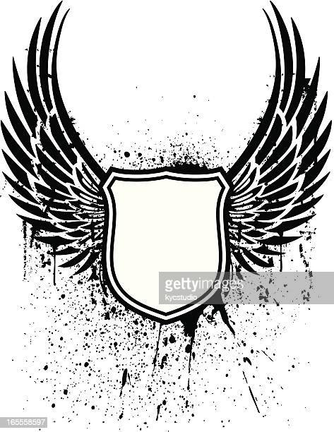grunge winged shield tattoo - phoenix mythical bird stock illustrations, clip art, cartoons, & icons