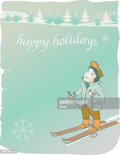 illustrations, cliparts, dessins animés et icônes de carte postale le grunge pour les vacances d'hiver avec ski souriant enfant - ski humour