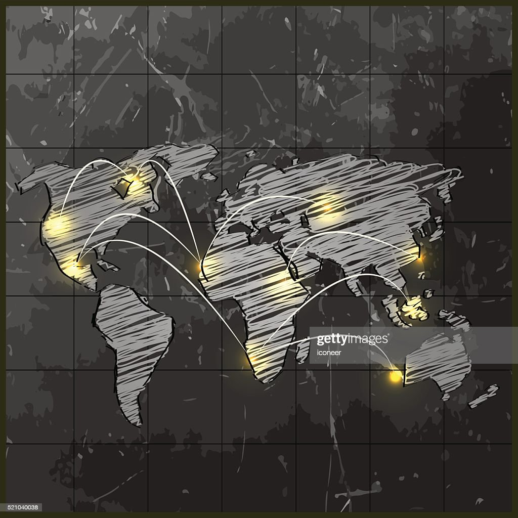 Grunge world map on chalkboard background with connected cities grunge world map on chalkboard background with connected cities vector art gumiabroncs Gallery