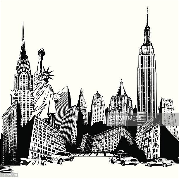 grungey new york superscene - empire state building stock illustrations, clip art, cartoons, & icons