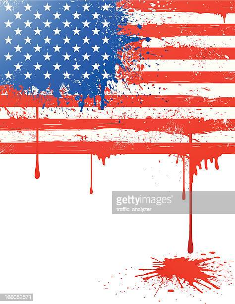 grungy flag of usa - blood stock illustrations, clip art, cartoons, & icons