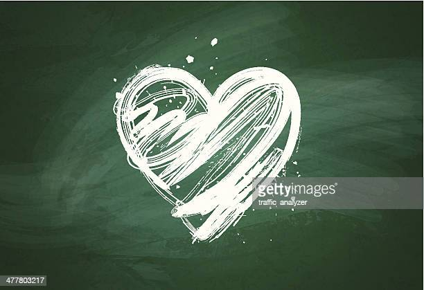 grungy heart over green chalkboard - chalk wall stock illustrations