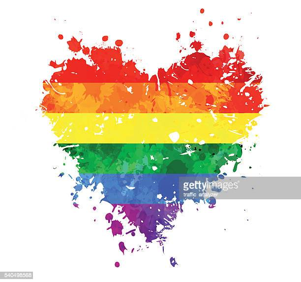lgbt grungy heart - rainbow stock illustrations, clip art, cartoons, & icons