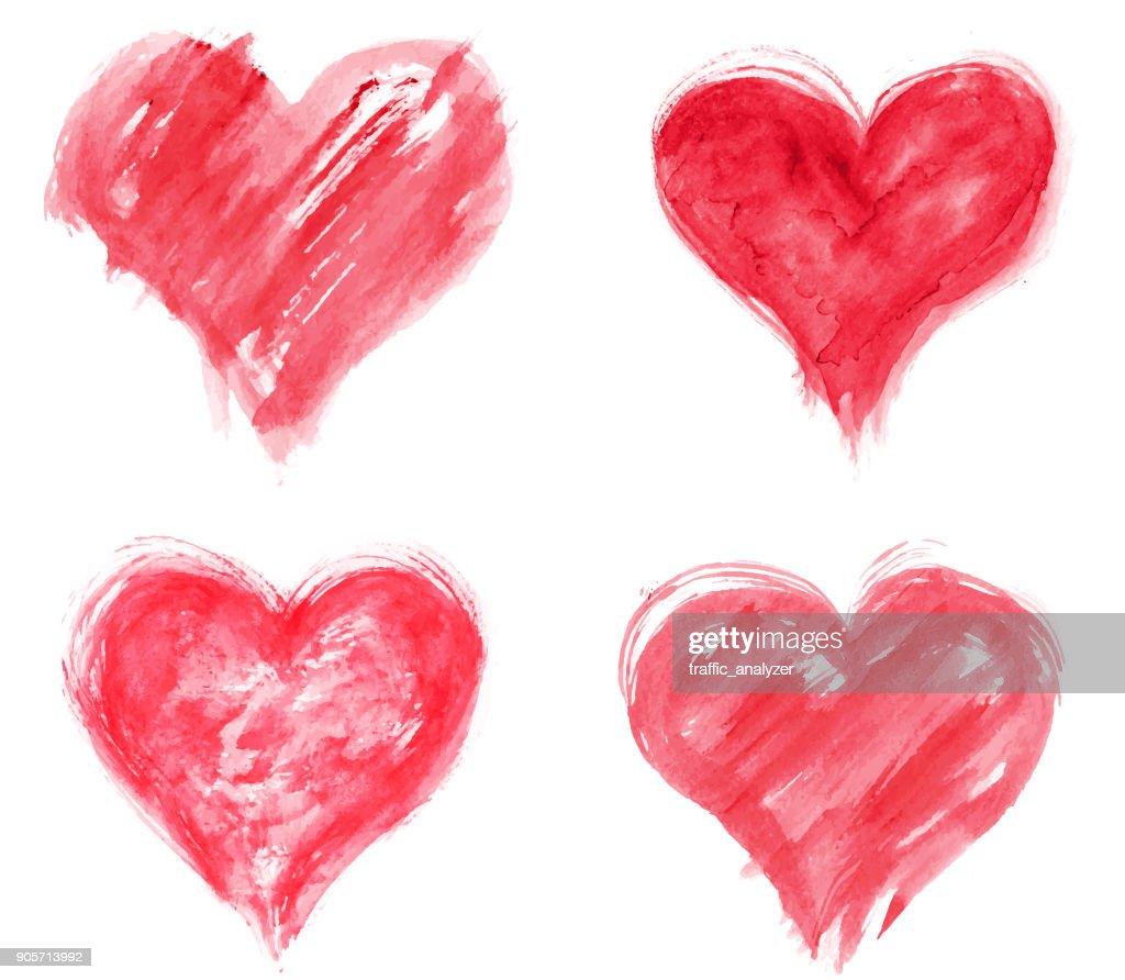 Grungy hearts : stock illustration