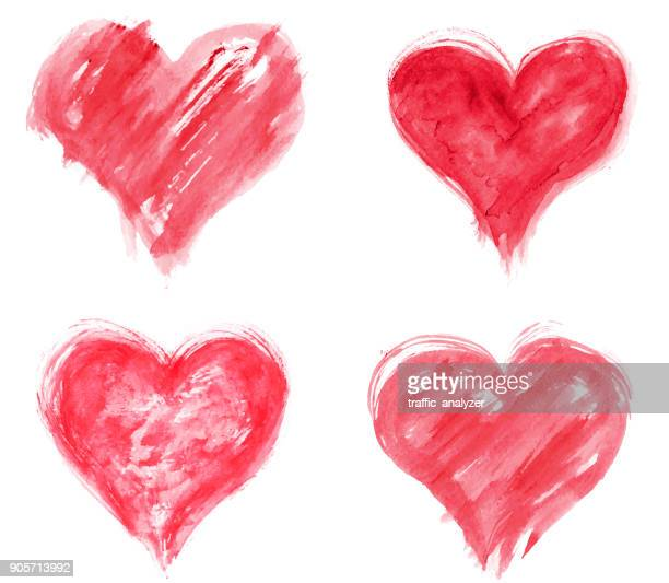 grungy hearts - heart shape stock illustrations
