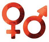 Grungy red sex symbols