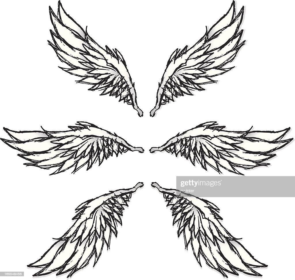 Grungy sketched wings