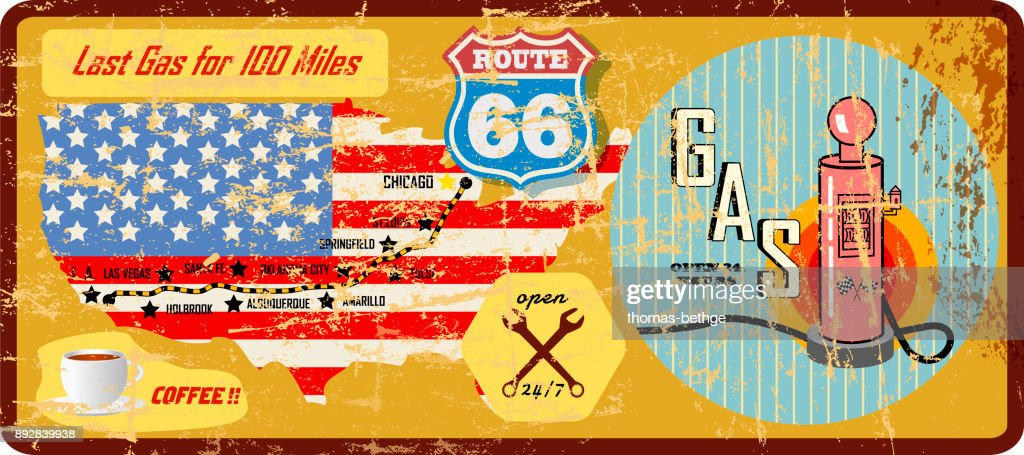 grungy vintage route 66 gas station sign and road map