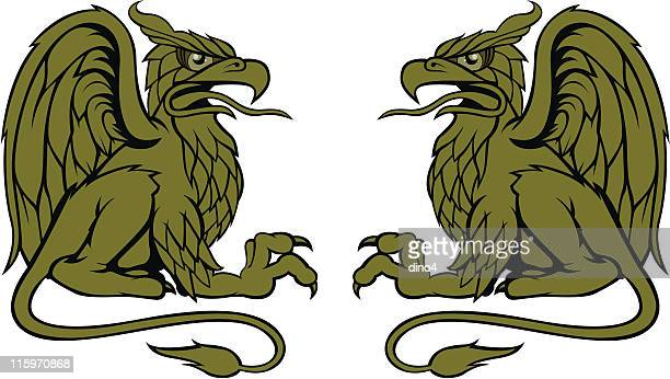 gryphon bros. - two animals stock illustrations