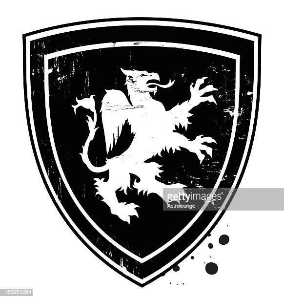 gryphon shield - griffin stock illustrations, clip art, cartoons, & icons