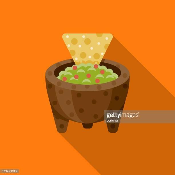 ilustraciones, imágenes clip art, dibujos animados e iconos de stock de icono de méxico diseño plano de guacamole con sombra lateral - diseño plano