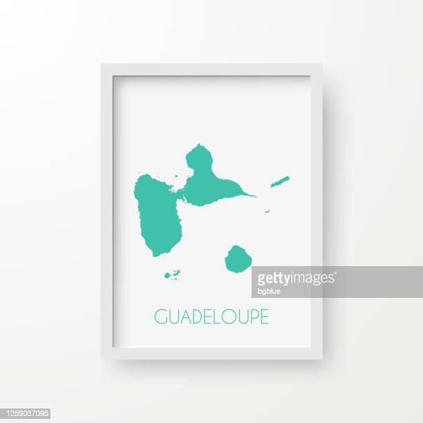 白い背景のフレーム内のグアドループマップ - フランス海外領点のイラスト素材/クリップアート素材/マンガ素材/アイコン素材