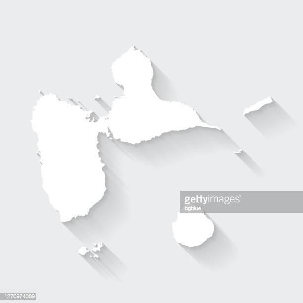 空白の背景に長い影を持つグアドループマップ - フラットデザイン - フランス海外領点のイラスト素材/クリップアート素材/マンガ素材/アイコン素材