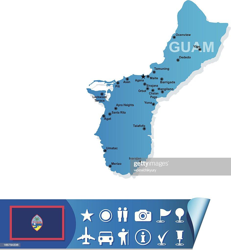 Guam map : stock illustration