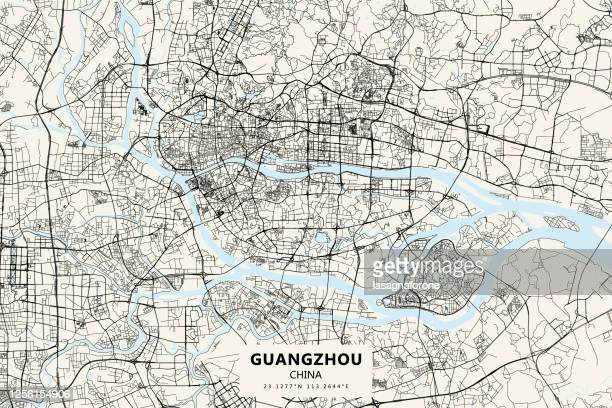 guangzhou, china vector map - changzhou stock illustrations
