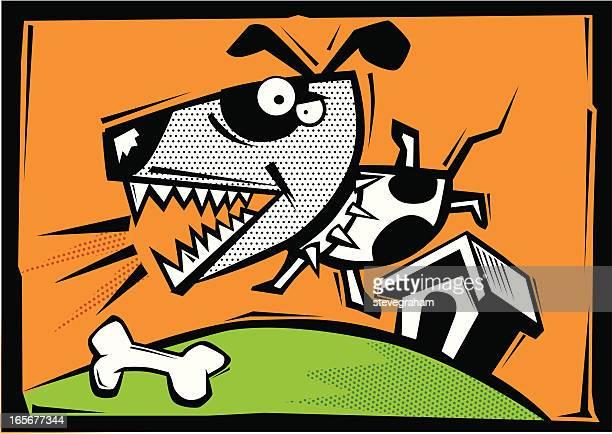 ilustraciones, imágenes clip art, dibujos animados e iconos de stock de perro guardián - caseta de perro