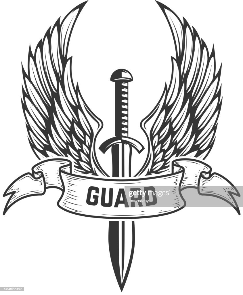 Guard. Medieval sword with wings. Design element for  label, emblem, sign, badge.