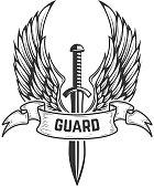 Guard. Medieval sword with wings. Design element for  label, emblem, sign, badge.
