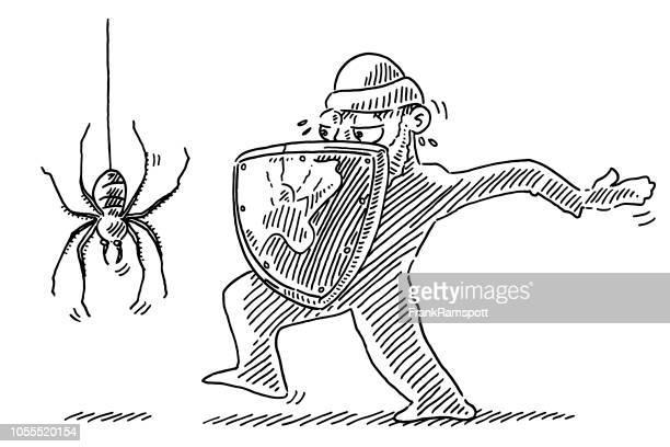 Menschliche Figur nähert sich Spider Zeichnung bewacht