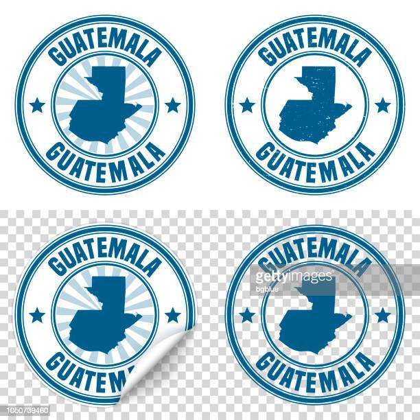 guatemala - blue sticker and stamp with name and map - guatemala stock illustrations, clip art, cartoons, & icons