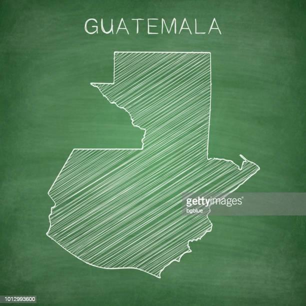 guatemala map drawn on chalkboard - blackboard - guatemala stock illustrations, clip art, cartoons, & icons