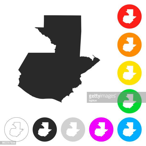 guatemala map - flat icons on different color buttons - guatemala stock illustrations, clip art, cartoons, & icons