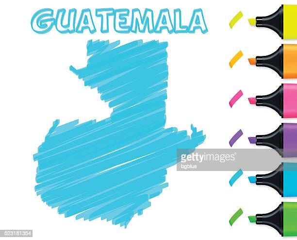 guatemala map hand drawn on white background, blue highlighter - guatemala stock illustrations, clip art, cartoons, & icons