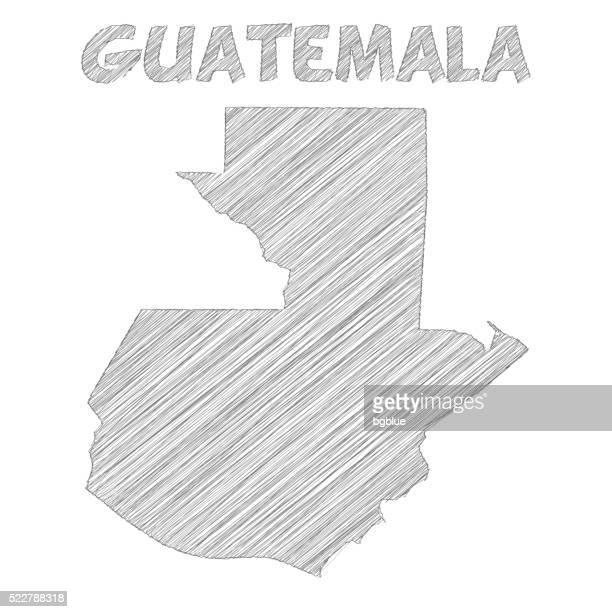 guatemala map hand drawn on white background - guatemala stock illustrations, clip art, cartoons, & icons
