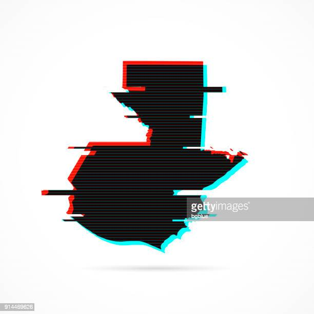 guatemala map in distorted glitch style. modern trendy effect - guatemala stock illustrations, clip art, cartoons, & icons