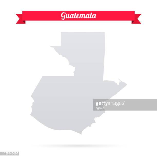 guatemala map on white background with red banner - guatemala stock illustrations, clip art, cartoons, & icons