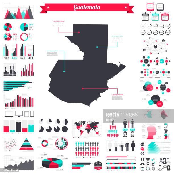 guatemala map with infographic elements - big creative graphic set - guatemala stock illustrations, clip art, cartoons, & icons