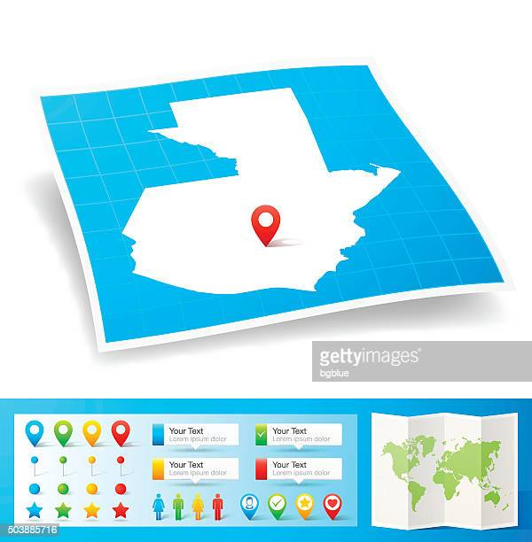 guatemala map with location pins isolated on white background - guatemala stock illustrations, clip art, cartoons, & icons