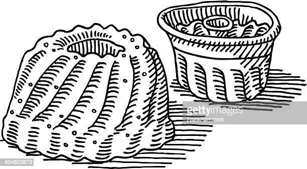 Gugelhupf Kuchen Backen Pfanne Zeichnung
