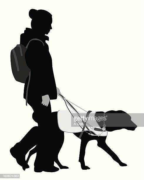 guide dog vector silhouette - blindness stock illustrations, clip art, cartoons, & icons