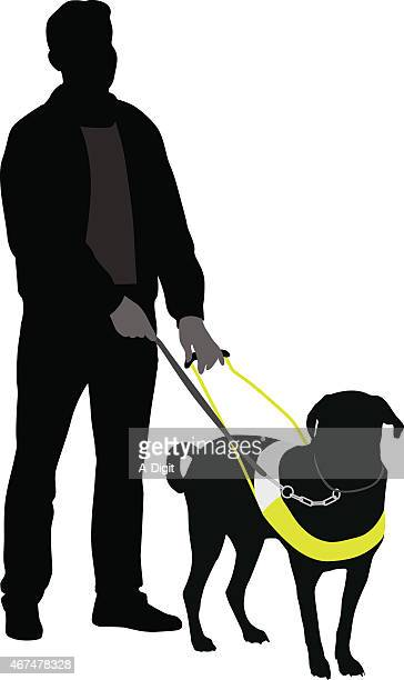guidedog - dog leash stock illustrations, clip art, cartoons, & icons