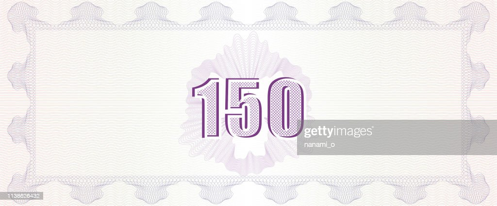 Guilloche background with number fonts. Monetary banknote background.