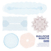 Guilloche Rosette Set Vector. Decorative Abstract Rosette Elements For Diploma, Certificate, Money Or Passport. Guilloche Background Rosette. Vector Illustration