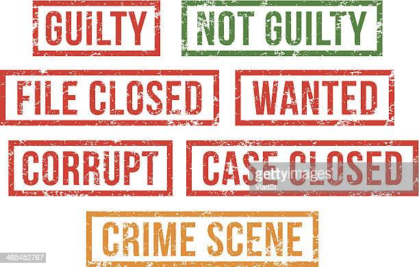guilty, crime scene -  rubber stamps - innocence stock illustrations