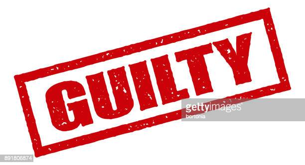 guilty red rubber stamp icon on transparent background - regret stock illustrations