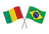 Guinea and Brazil flags.Vector illustration.