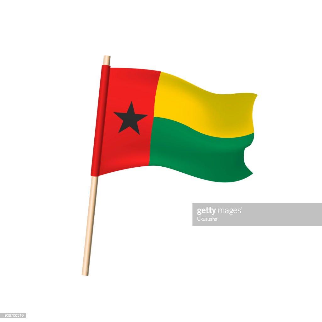 Guinea Bissau flag on white background