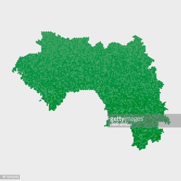 Guinea-Land-Map-grünen Sechseck-Muster