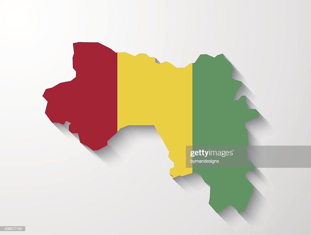 Guinea  country map with shadow effect presentation