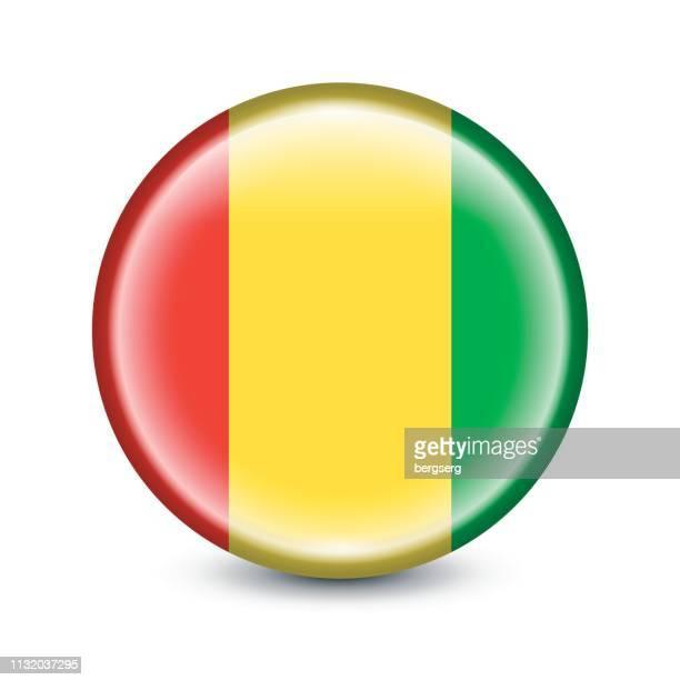 Guinea Flagge Runde Ikone. Vektorabbildung