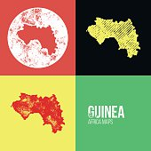 Guinea Grunge Retro Maps - Africa