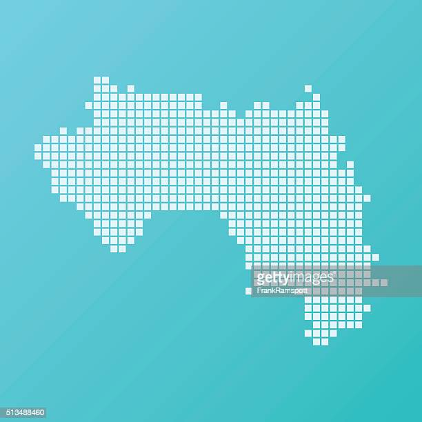 Guinea Karte Grundlegende Platz Muster-Türkis