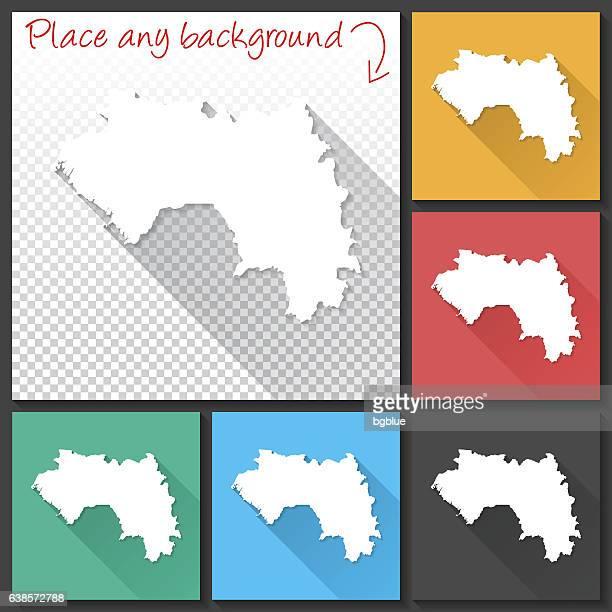 Guinea Map for design, Long Shadow, Flat Design