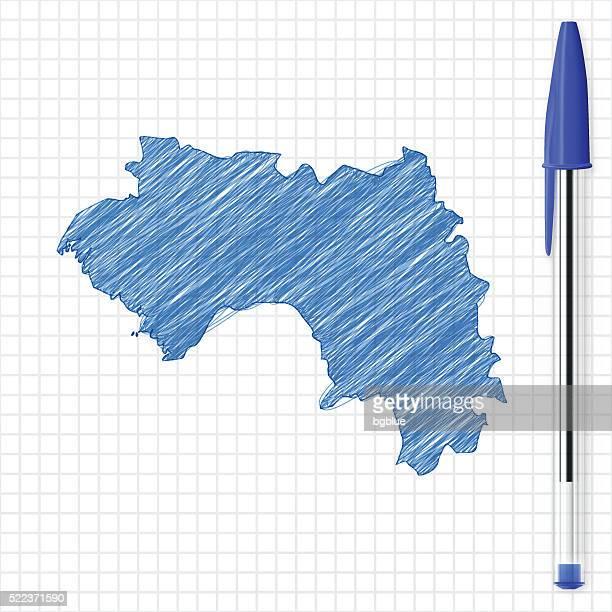 Guinea map sketch on grid paper, blue pen
