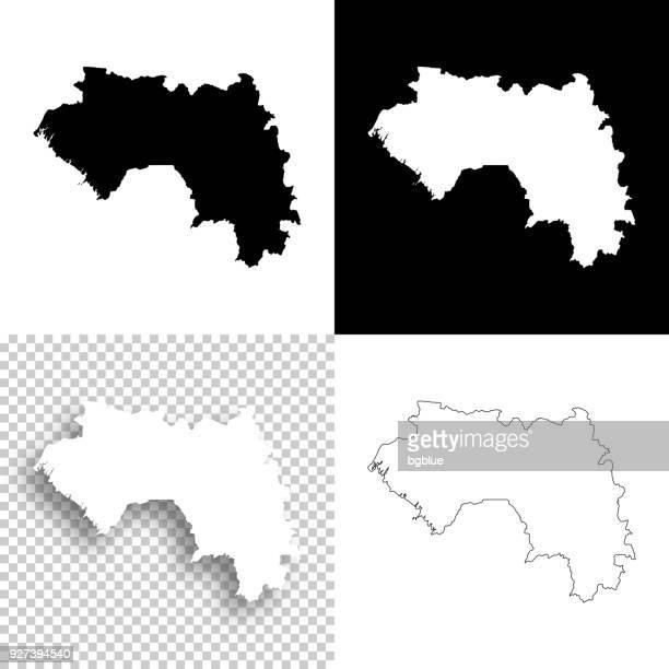 Guinea-Karten für Design - leere, weiße und schwarze Hintergründe