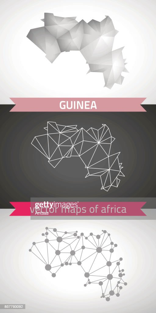 Guinea set of grey and silver mosaic 3d polygonal maps. Graphic vector triangle geometry outline shadow perspective maps